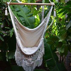 Hanging Hammock Chair Organic Cotton Porch Swing With Macrame Fringe Mission Hammocks