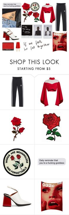 """""""Guns & Roses"""" by alice-st ❤ liked on Polyvore featuring adidas Originals, Balmain, Marni, NARS Cosmetics, 032C and vintage"""