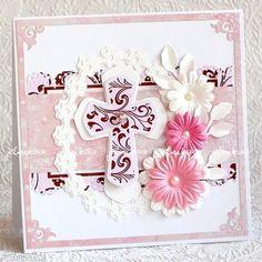 scrapbooking kartki: Chrzest Św. - dla dziewczynki - handmade