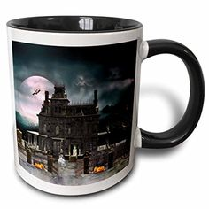 3dRose A Halloween Haunted House in The Night with Ghosts and Creatures Two Tone Black Mug 11 oz BlackWhite >>> See this great product.