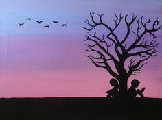 Sunset Silhouette Painting Reading Under Tree Girl Boy Birds