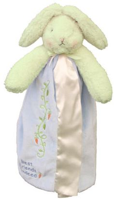 Perfectly soft and cuddly for a little boy. This bunny buddy blanket from Bunnies by the Bay is the perfect buddy to give your little one comfort. Bunny has a wonderfully textured head and ears, a velour soft blanket with satin edge and lining, and sweet embroidery. We personalize this special buddy with his first name, and his birth date if you wish to create a special welcome baby gift. $35