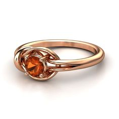 Round Fire Opal 14K Rose Gold Ring | Hercules Knot Ring | Gemvara