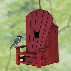 """NEW! Adirondack Chair Birdhouse (Red) - Even the birds can relax in their very own Adirondack chair at the cottage or cabin! Detailed, painted wood birdhouse features 4 ventilation holes, 4 drainage holes, easy flip-up clean-out door and a deep nesting chamber. Entry hole is 1-1/8""""Diam., perfect for your favourite songbirds. Keyhole in the back for easy wall-mounting, or hang from a branch with included hanging cord. (PN - OG99835) $34.98 CAD"""