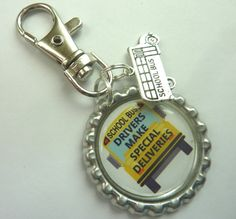 Items similar to School bus driver bottlecap with bus charm clip / keychain / keyring - image on Etsy Bus Driver Gifts, School Bus Driver, School Buses, Bus Driver Appreciation, Staff Appreciation, Last Day Of School, School Fun, School Bus Clipart, Bottle Cap Jewelry