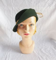 1930's Vintage Green Felt Hat with Gold Braid by MyVintageHatShop, $72.00