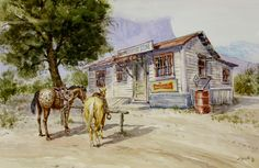 """Western Art : Andrew Dagosta, Western Artist, Water Color Painting, """" Country Store"""", Ca 1984, #712"""