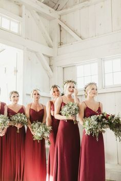 Beautiful Berry Colored New Jersey Wedding at Bonnet Island .- Beautiful Berry Colored New Jersey Wedding at Bonnet Island Estate – MODwedding Featured Photographer: Magdalena Studios; Sequin Bridesmaid, Bridesmaid Outfit, Bridesmaids And Groomsmen, Wedding Bridesmaids, Wedding Dresses, Berry Bridesmaid Dresses, Blush Weddings, Vintage Weddings, Bridesmaid Flowers