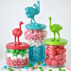 Ostrich candy jars  