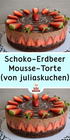 Chocolate strawberry mousse cake (from juliaskuchen) Quick Easy Desserts, Desserts For A Crowd, Fancy Desserts, Summer Desserts, Christmas Desserts, No Bake Desserts, Healthy Desserts, Dessert Recipes, Strawberry Mousse Cake