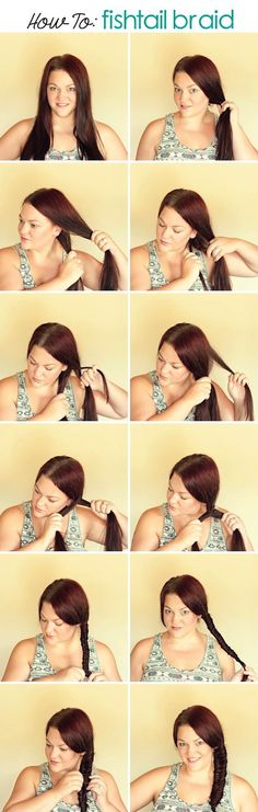 Medium Hairstyles for Women - How to Fishtail Braid Shoulder Length Hair.  Easy Step By Step Instruction for Fishtail Braids.