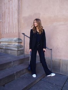 flare suit pants + sneakers