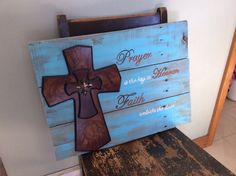 Pallet wood religious faith cross sign by PolishedExpression Barn Wood Crafts, Pallet Crafts, Pallet Art, Pallet Ideas, Wooden Crosses, Wall Crosses, Wood Projects, Craft Projects, Craft Ideas