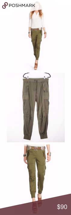 """Polo Ralph Lauren Silk Jersey Cargo Pants in Green Casual-cool tapered pants with a military-inspired design are elevated in soft silk jersey. Ribbed drawstring waist. Side flap and cargo pockets. Seamed knee patches. Tapered leg. Smocked hems. Buttoned back welt pocket. Pull-on style. Rise, about 10"""" Inseam, about 28"""" Waist, about 17"""". Silk. Contrast: Cotton. Dry clean. Color: green Polo by Ralph Lauren Pants"""