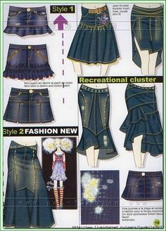 New ideas sewing skirts jeans diy ideas Sewing Dress, Sewing Clothes, Sewing Jeans, Diy Kleidung, Diy Vetement, Mode Jeans, Denim Ideas, Denim Crafts, Recycle Jeans