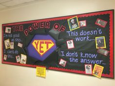 "Growth mindset bulletin board, featuring biographies from the library about famous people who persevered. The power of ""us"". Counseling Bulletin Boards, Classroom Bulletin Boards, Bulletin Board Display, Display Boards, Superhero Bulletin Boards, Display Ideas, Classroom Walls, Mindful Classroom, Elementary Bulletin Boards"