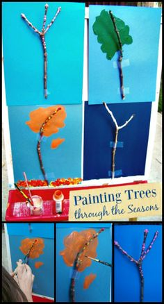 Painting Trees through the Seasons Preschool, kindergarten and elementary age kids can learn about h Seasons Activities, Steam Activities, Summer Activities For Kids, Preschool Seasons, Kindergarten Art Projects, Kindergarten Activities, Preschool Activities, Art Activities For Preschoolers, Preschool Arts And Crafts