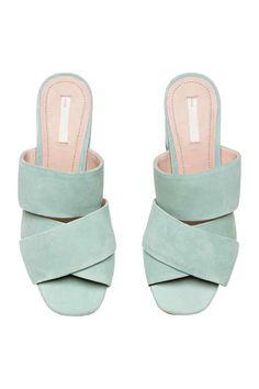 Sandalias de ante - Verde menta - MUJER | H&M ES