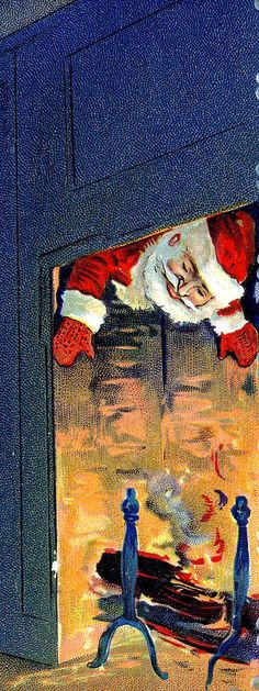 """Vintage postcard.. """"Coming down the Chimney""""...oops, a fire is burning in the fireplace."""