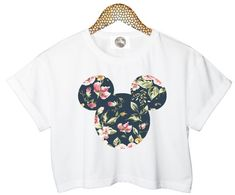 FLORAL MICKEY crop TOP head mouse cropped tshirt womens ladies fashion retro vintage handmade funny style tumblr grunge cool xs s m l cute on Etsy, $25.03