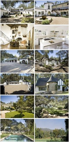The Ranch at Ojai, restored by Kathryn Ireland, now home to blond actress Reese Witherspoon. The front courtyard sits inside the U shap. Reese Witherspoon House, Ojai California, Front Courtyard, Old Abandoned Houses, Mansion Interior, Mediterranean Home Decor, Unusual Homes, Celebrity Houses, Classical Architecture