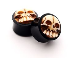 Horn Plugs with Bone Skull -1/2 Inch – 12mm – Sold As a Pair