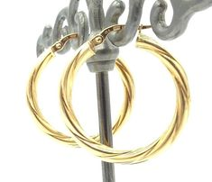 14k Solid Gold Twisted Hoop Earrings 26 mm Diameter 2.3 Grams Free Shipping #Hoop