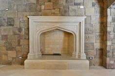 Hand carved limestone fireplace