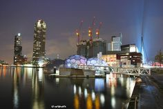 Rotterdam skyline at night by Aardewerk, via Flickr