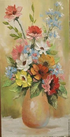цветы в саду – купить или заказать в интернет-магазине на Ярмарке Мастеров | выполнена картина мастихином и кистью