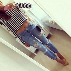 Black and white long sleve crop top;Destressed demin boyfriend jeans;Nude heal; YSL bag