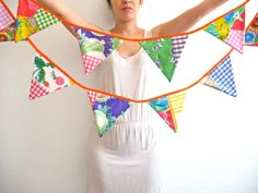 Oilcloth Bunting / the Patchwork style garland / wedding / by Vebo
