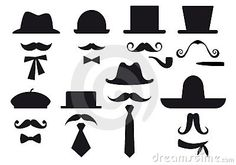 Moustache and hats, vector set by Beata Kraus, via Dreamstime
