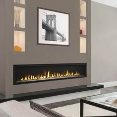 Echelon II Direct Vent Linear Gas Fireplace – Home Trends 2020 Direct Vent Gas Fireplace, Vented Gas Fireplace, Fireplace Tv Wall, Linear Fireplace, Wall Mount Electric Fireplace, Double Sided Fireplace, Living Room With Fireplace, Fireplace Surrounds, Fireplace Design