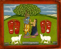An Indian painting, 1790-1810, depicting Krishna, an avatar of the Hindu god Vishnu, the preserver, with his symbolic attributes of a flute and blue skin, with Radha under a tree with cows and footprints with auspicious symbols. (British Museum)