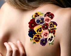 pansies and owl tattoo Up Tattoos, Wrist Tattoos, Flower Tattoos, Body Art Tattoos, Tattoos For Women, Cool Tattoos, Tatoos, Anchor Tattoos, Bird Tattoos