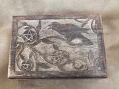 Wood Box with Carved Raven and Pentacles Set  by OstaraoftheOaks