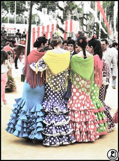 Sevillanas - great shot of the different colour combinations and hair styles.