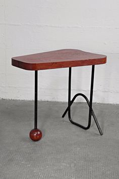 Jacques Hitier Attributed; Enameled Tubular Steel and Oak Side Table, c1952.