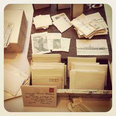 Old photographs & correspondence printed on Ceramic - design students work MMU degree show