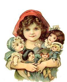 Vintage girl with dolls Victorian Pictures, Vintage Pictures, Vintage Images, Vintage Valentine Cards, Vintage Cards, Vintage Paper Dolls, Antique Dolls, Illustrations, Illustration Art