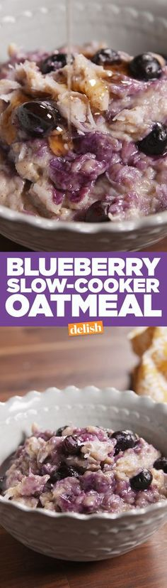 Blueberry Slow-Cooker Oatmeal  - Delish.com