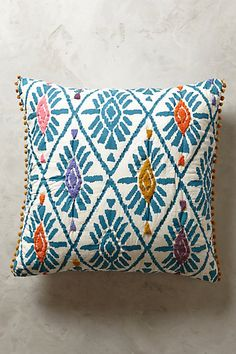 Too big for pillows on couch? Love the teal  Barranco Euro Sham #anthropologie