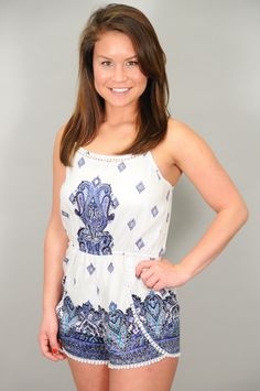 BOTTOMS > Rompers > White & Blue Floral Paisley Print Romper