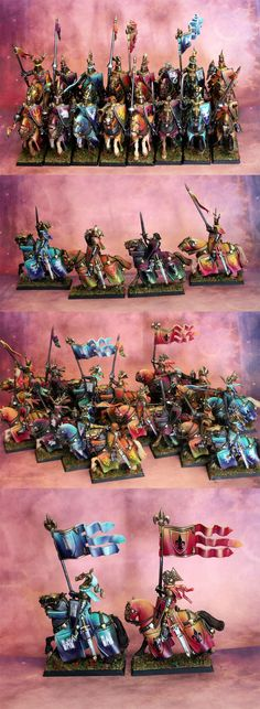 Bretonnian Knights. The amount of colour is ... oh dear.