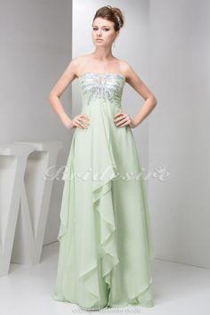 A-line Strapless Floor-length Sleeveless Chiffon Dress - $122.99