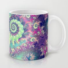Violet Teal Sea Shells, Abstract Underwater Forest  Mug by Diane Clancy's Art - $15.00