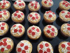 Pizza cupcakes for the Ninja Turtle party!