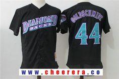 Men's Arizona Diamondbacks #44 Paul Goldschmidt Black Throwback Mesh Batting Practice Stitched MLB Mitchell & Ness Jersey
