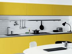 Cool White and Yellow Kitchen Furniture Design